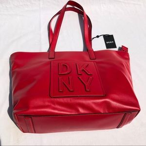 DKNY Red Tilly Stacked Logo Top Zip Tote